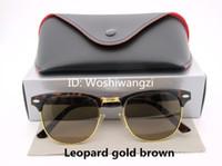Wholesale Womens Leopard Sunglasses - Designer Sunglasses Semi Rimless Sun Glasses For Mens Womens Leopard Gold Frame Black 51mm Glass Lenses With Cases