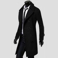 zanja fresca al por mayor-2016 al por mayor Men Cool doble de pecho abrigo de invierno Outwear la capa de foso larga chaqueta