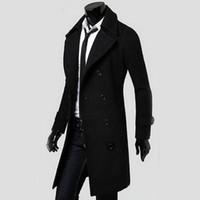 Wholesale Trench Coat Men Double - Wholesale- 2016 Cool Men Double Breasted Overcoat Outwear Trench Coat Winter Long Jacket