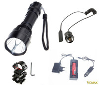 Portable Flash Light Lanterna C8 T6 XML LED 2000 lumen torcia elettrica Lanterna ha condotto la torcia della luce di caccia + 1x18650Battery + Mount