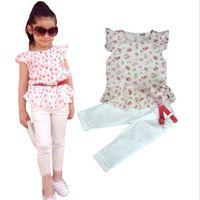 Wholesale Wholesale Kids Clothing Europe - Wholesale- 2016 Summer Girls clothing set kids girls Europe and America printed cotton t shirt+ cottton pants+belt 3 pieces clothing sets