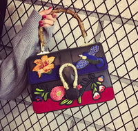 Wholesale brand handbag folk style custom embroidery embroidery woman handbag Harajuku wind bamboo bag retro snakeheads leather handbag