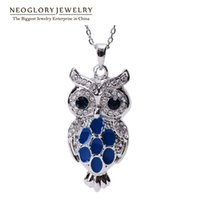 Wholesale Swarovski Blue Pendant - MADE WITH SWAROVSKI ELEMENTS Enamel Paint Cute Blue Owl Ladies Pendant Necklaces for Teens Gril Neoglory Jewelry