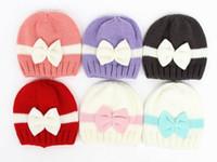 Wholesale Newborn Baby Beanie Cap Girl - 2016 Autumn Winter New Baby Hats Bow Patchwork Knitted Cotton Warm Cap Newborn Beanie 0-1T MZ238