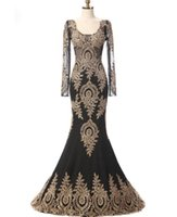 Wholesale Black Scoop - Black Scoop Sheer Long Sleeves Gold Appliques Mermaid Formal Evening Dresses For Wedding Party Mother Of The Bride Dresses