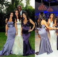 Wholesale Kardashian Bridesmaids - Floor Length Long satin gray chole kardashian Bridesmaid Dress Coral Colored Dress To Party Over Maid Of Honor Wedding Dresses 2017