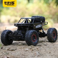 Wholesale Motor Black Toy - GouGouShou 1:18 4WD RC Car 2.4GHz Metal Rock Crawlers Rally Climbing Off-Road big Vehicle Remote Control Model Toys For Children