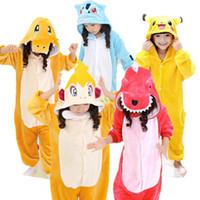 ingrosso costumi cosplay pikachu-Charmeleon Pikachu Monferno Charmander Bulbasaur Cosplay Kigurumis Bambini Carnevale di Halloween Mardi Gras Costumi Bambini Tutina Pigiama