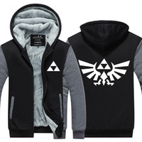 Wholesale Legend Zelda Hoodie - High Quality The Legend of Zelda Link Men Thicken Hoodie Women Anime Zipper Coat Jacket Sweatshirt Cosplay Costume Plus Size