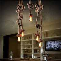 Wholesale Deco Retro - Retro Vintage Rope Pendant Light Lamp Loft Creative Personality Industrial Lamp Edison Bulb American Style For Living Room