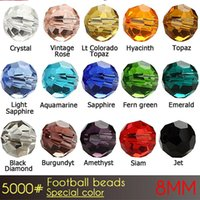 Wholesale Bracelet Cristal - 2017 fashion Bracelet beads in China Football glass cristal Beads 8mm Special Colors A5000 72pcs set in wholesale price