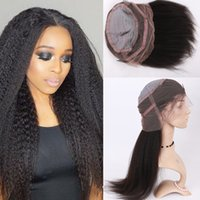 Wholesale Glueless Kinky Straight Hair - Hot Selling 150%180% Density Peruvian Glueless Coarse Yaki Pre Plucked 360 Lace Wig Kinky Straight 360 Lace Frontal Wigs Human Hair Wigs