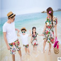Wholesale Mother Son Sets - Family clothes mother and dauther dew shoulder princess dress father and son T-shirt+shorts 2pcs sets Bohemia family beach clothings T2918