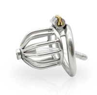 Wholesale chastity cage curve online - Chastity Devices Male Penis Lock Stainless Steel Chastity Belt Metal Cock Cage For Men With Curved Penis Rings with urethral catheter BDSM