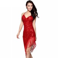 Wholesale 2017 Sexy Latin Dance Dress Women Girls Polyester Salsa Samba Tango Ballroom Competition Costume Lady Practise Competition Dance