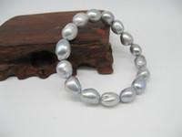 Wholesale baroque pearls bracelets - gray(grey) color bracelet pearl semi baroque tear drop irregular shape natural Cultured freshwater pearls for women