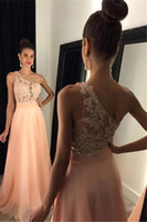 Wholesale Light Green One Shoulder - Sexy One Shoulder A Line Chiffon Prom Dresses 2017 Illusion Bodices Lace Sequins Evening Gowns Light Sky Blue Formal Party Wear BA4231
