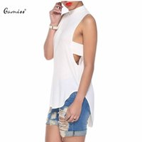 Wholesale Casual Goth - Wholesale-Punk Goth Hollow Out Women T Shirt Hip Hop Vented Split Asymmetric Casual Backless Sleeveless Sexy Bandage Shirt 1649992