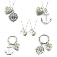 Wholesale anchor jewellery - Alloy Chain Vintage Anchor Compass Necklace alphabet lettering couple pendant necklace Fashion Jewelry Geometric statement Jewellery D0189