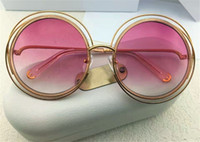 Wholesale Brand New Rims - new fashion women sunglass big round frame metal rim mix acetate frame CL120 women brand designer sunglass top quality france designer