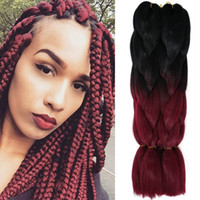 Kanekalon Ombre Bracing Hair Bulks Two Tone Xpression Synthetic Crochet Braids 100g Jumbo Wine Synthetic Hair For Black Women AliLeader
