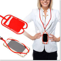 Wholesale Orange Lanyards Wholesale - universal silicone case hybrid shockproof dropproof case with credit card slot lanyard for samsung iphone black berry dhl free