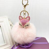 Wholesale girl cartoon hot fox - Hot Wholsale Lovely Fox Fur Ball Big Pompon Keychain Rhinestone Key Chain Ring Bag Purse Pendant Keyring for girlfriend friend gift