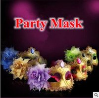 Wholesale Venetian Beads - 7 Colors Masquerade Masks Venetian Face Mask Fashion Rose Bead Chain Crystal Party Decoration Halloween Christmas Gift CCA7665 50pcs