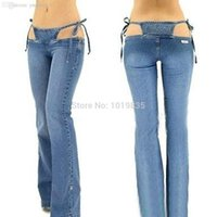 Wholesale Sexy Low Rise Skinny Jeans - Wholesale-Women Bikini Jeans Trousers Pants Denim Ultra Low Rise Flared Sexy Blue Fashion