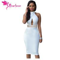 Wholesale Sexy Jeweled Dresses - Dear-Lover New Year Clubwear 2016 Sexy Summer Red Jeweled Waist Halter Summer Bodycon Midi Party Dress Vestido de festa LC60794 17410