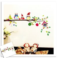 Wholesale best modern classical - DIY Christmas decorations gift wall sticker Carved cute bird Removable best wish Decorating art Sticker for child room Decor 2017 Wholesale