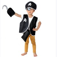 Wholesale Cheap Christmas Costumes - 2016 New Boys Non-woven Pirate Dress Five-piece sets Holloween Cosplay cheap costume for children new years christmas Halloween performance
