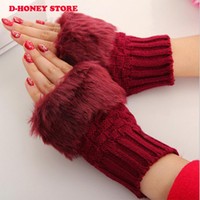 2016 Fashion Style Ladies Tricoté Fingerless Winter Thermal Warm Main Warmer Faux Lapin Fur Mitaines Luvas Gants femme
