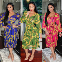 Wholesale Womens Silk Clothes - 2017 Fashion Traditional African Womens Clothing Long Sleeve Flora Printed V-Neck Beach Dresses Summer A-Line Chiffon Bohemian dress 08