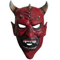 Wholesale latex horns - Wholesale 2017 Halloween Cow Ox Devil Mask Horns King Latex Scary Full Head Mask Halloween Masquerade Mascara Terror Mask Cosplay Party Prop