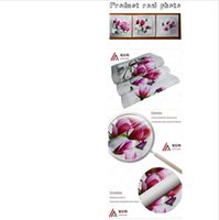 Wholesale Orchids Framed - 3pcs Print poster canvas Wall Art pink orchids Decoration art oil painting Modular pictures on the wall sitting room(no frame)