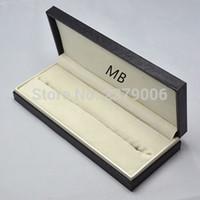 Wholesale Wood Pen Boxes Wholesale - Wholesale- High Quality design MB brand Black wood leather Pen Box Suit For Fountain Pen   Ballpoint Pen   Roller Ball Pens Pencil Case