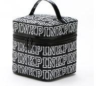 Wholesale Korean Cartoon Love - Victoria Classic Love Pink Secret Cosmetic Bag Double Zipper Handbag Portable Storage Bag 4 Colors Makeup Train Cases