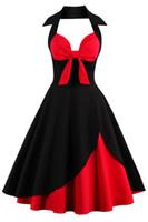 винтажные вдохновленные коктейльные платья оптовых-Холтер повседневные платья Одри Хепберн стиль 1950-х годов старинные вдохновленный рокабилли качели коктейльные платья для женщин дешевые