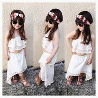 Ins New Baby Girls Lace Strapless + Faldas Conjuntos Girls Beach Dresses Sem mangas Cool Clothes Sets Pure White