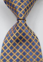 Wholesale Elegant Checks - Brand New Classic Elegant Checks Golden Blue White JACQUARD WOVEN Silk Tie Necktie csw58