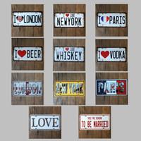 estatuas de amor al por mayor-I Love London 30X15 CM Cartel de chapa de metal ET 1889 Car License Plates Cartel de chapa Estatua de la libertad Iron Painting Antique 5 99rjb