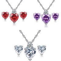 Discount wholesale red pendants heart - Silver Jewelry Sets Hot Sale Crystal Earrings Pendant Necklaces Set for Women Girl Party Gift Fashion Jewelry Wholesale Free Shipping 0630WH