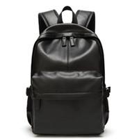 Wholesale leather notebooks for men for sale - Group buy Backpack men vintage solid black PU leather male backpack schoolbag laptop notebook backpack for teenagers bagpack sac a dos