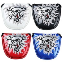 Wholesale Covered Magnetic Closure - Hot Sale Brand New Semicircle Golf Multi-colors Skull Putter Head Cover Magnetic Closure Mallet Head covers