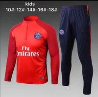 Wholesale Suits Kids Wear - TOP Quality kids 2017 2018 pSg jacket jerseys uniforms sportswear training wear suit PARIS 17 18 long sleeve tracksuit pant free shipping