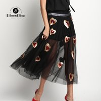 Wholesale Line Luxury Heart - Long Black Sequin Heart Skirt Woman Runway Skirts 2017 Fashion Casual Brand Summer Skirts Women Luxury