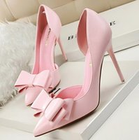 Wholesale Elegant Red Heels - Women Pumps Sweet Bowknot High-heeled Shoes Thin Pink High Heel Shoes Hollow Pointed Stiletto Elegant