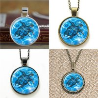 Wholesale turtles earrings - 10pcs Blue Tribal Turtle Glass Photo Necklace keyring bookmark cufflink earring bracelet