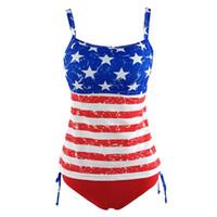 traje de baño bandera damas al por mayor-Envío Gratis Más Nuevo Verano Señora Swimwear Push-up Acolchado EE. UU. Bikinis Mujeres Traje de Baño Bandera Americana Fringe Borla Vendaje Traje de Baño M L XL XXL